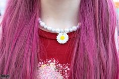 Pink Hair & Flower Choker Necklace