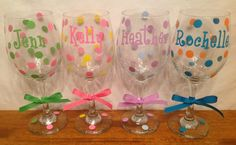 Personalized TALL WINE GLASSES Name Initial by PamsPolkaDots, $10.00