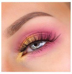 Makeup Eye Looks, Eye Makeup Art, Eye Makeup Brushes, Skin Makeup, Eyeshadow Makeup, Pink Eyeliner, Beauty Makeup, Makeup Without Eyeliner, Color Eyeliner