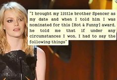 Her acceptance speech at the Guys' Choice Awards will show you why. Eden Mor, Acceptance Speech, Choice Awards, Emma Stone, I Win, Sisters, Celebs, Good Things, Humor
