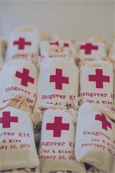 Wedding favor idea: hangover kit for wedding reception; photo:  Gavin Casey