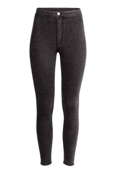 Trousers in washed superstretch twill with a high waist, zip fly with a button and slim legs. Wwe Outfits, Edgy Outfits, Teen Fashion Outfits, Outfits For Teens, Pantalon High Waist, Cute Ripped Jeans, Cute Pants, Cute Comfy Outfits, Jogger Pants