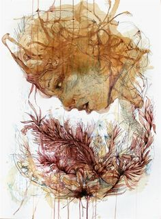 Carne Griffiths' artwork made with calligraphy ink, graphite and liquids, such as tea, brandy, vodka and whisky.