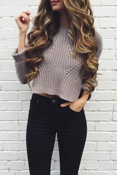 knit crops with high waist jeans #omgoutfitideas #style #womenswear