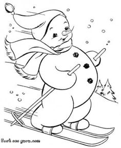 print out snowman on skis coloring page - Printable Coloring Pages For Kids