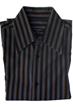 2792f1672fd05 Details about Equilibrio Italia Long Sleeve Black Blue Brown Button Front  Striped Cotton Shirt
