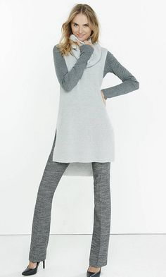 Express Womens Cow New Sleevless Sweater Sleevless Sweater, Tunic Sweater, Grey Sweater, Fall Fashion 2016, Work Fashion, Fashion Outfits, Stylish Outfits, Cute Outfits, Work Outfits