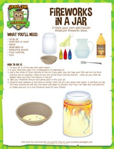 How To Produce Elementary School Much More Enjoyment Firework Jar - Animal Jam Academy. Science Party, Science Activities For Kids, Science Fair, Teaching Science, Science For Kids, Science Projects, Summer Activities, Chemistry For Kids, Nanny Activities
