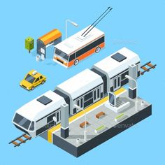 Isometric Public Transport Stations. Bus and Train