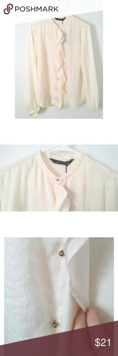 Zara bloise Beige blouse with brass stubs for buttons and ruffle down the front. Semi-sheer. Has a crinkle effect look to it. Really chic! Because of brass stub buttons, better for a smaller bust.  (Zara L is a M) Zara Tops Blouses
