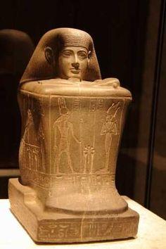 ♔ Le Crépuscule des Pharaons ~ Statue cube de Hor ~ Musée de Berlin.
