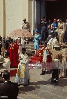 Queen Elizabeth II with her husband Prince Philip and Emperor Haile Selassie walking along with people in ornate robes during her visit to Ethiopia in February of Pictures Of Queen Elizabeth, Young Queen Elizabeth, African Culture, African History, History Of Ethiopia, Ethiopia Travel, Haile Selassie, Black Royalty, African Royalty