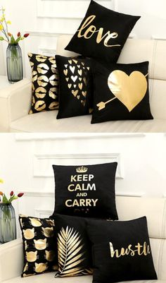 Black And Gold Decorative Throw Pillow Covers For The Livingroom And Bedroom - Pillow Art Cheap Throw Pillows, Yellow Throw Pillows, Modern Throw Pillows, Diy Pillows, Floor Pillows, Decorative Throw Pillows, Pillow Ideas, Gold Room Decor, Gold Rooms