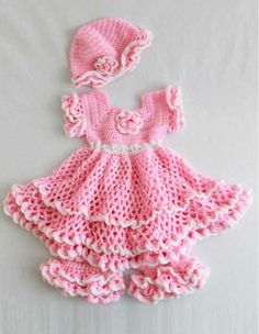 PA849 Savannah Ruffled Baby Set Crochet Pattern- http://www.maggiescrochet.com/savannah-ruffled-baby-set-pattern-p-386.html#.UVnD7VeNpZ0 #crochet #pattern #baby #clothes #bloomers #hat #dress #ruffles