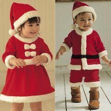 2016 New 0-3 yrs baby girls christmas outfit santa pajamas kids boys christmas clothes disfraz navidad bebe chandal clothing(China (Mainland))