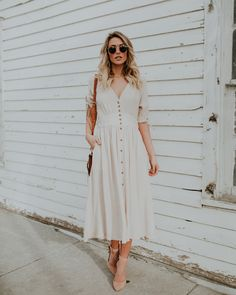 Simple Kind Of Life Pocketed Button Down Dress - Natural