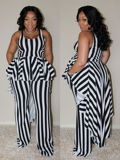 The Absolute Stripe Pant & Peplum Set is such a pretty but comfy look! The set includes a jersey knit high low peplum top and matching wide leg. Ashley Graham, Curvy Girl Fashion, Plus Size Fashion, Petite Fashion, Curvy Outfits, Fashion Outfits, Fashion Styles, Fashion Top, Fashion Edgy
