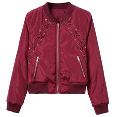 Burgundy Lace Up Satin Bomber Jacket (65 CAD) ❤ liked on Polyvore featuring outerwear, jackets, flight jacket, red jacket, lace up jacket, satin jackets and red flight jacket