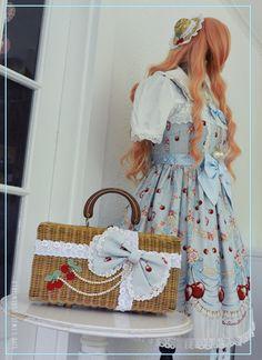 Sweet lolita / country lolita vintage wicker purse remake to coordinate with Baby, the Stars Shine Bright Cherish My Juicy Cherry JSK