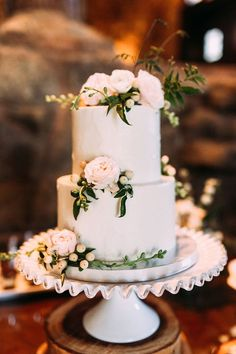 Classic Wedding Cake with Garden Flowers