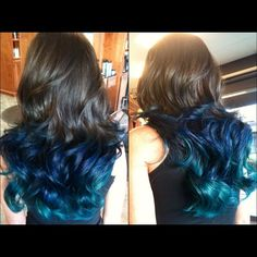 The ombre looks better with long hair, I feel like mine is too short :( Teal Ombre Hair, Dyed Hair Blue, White Blonde Hair, Dye My Hair, Blue Ombre, Teal Blue, Blue Green, Hair And Makeup Artist, Hair Makeup