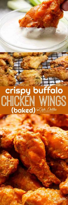 Four Kitchen Decorating Suggestions Which Can Be Cheap And Simple To Carry Out Crispy Buffalo Chicken Wings Baked - Cafe Delites Baked Chicken Wings Buffalo, Crispy Baked Chicken Wings, Crispy Baked Wings, Oven Baked Wings, Crispy Buffalo Wings Recipe, Cashew Chicken, Chicken Wing Recipes, Chicken Wing Sides, Football Food