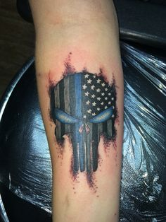 Law enforcement punisher skull Tattoo done by Ricky Garza in victoria tx. Got ink?  X-treme ink tattoos