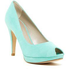 Karen Millen Suede Peep Toe Platform Pump (395 RON) ❤ liked on Polyvore featuring shoes, pumps, suede platform pumps, slip-on shoes, suede slip on shoes, peep toe platform pumps and high heel shoes