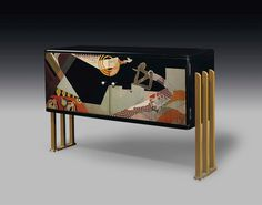 A RADIO CABINET, CIRCA 1930 lacquered wood, with gilt-metal legs 20¼ in. (51.5 cm.) high, 31 in. (78.7 cm.) wide, 11 in. (28 cm.) deep signed in lacquer Jean Dunand. (=)