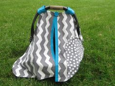 Grey Chevron Car Seat Canopy with Polka Dot by SassyFrassyShop, $34.99.Emily You and Heather could and should make these for your Baby Boutique!!Click on the link above this lady has a lot of cute covers =)