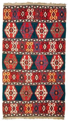 exceptional antique Kuba kilim in excellent condition with tight fine weave, saturated dyes  ...