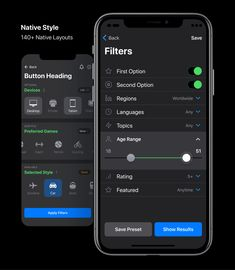 Meet smart and dark iOS design system for Figma. Your ultimate design kit for creating native, custom or wireframing layouts made of constrained components aimed to dark mode and endless scalability. App Ui Design, Mobile App Design, Interface Design, Mobile Ui, User Interface, Ios Dark Theme, Empty State, Mobile Project, Themes App