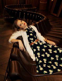 Daisy dress and cardigan, Tanya Katysheva by Nikolay Biryukov for Elle May 2015