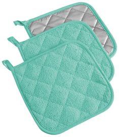 DII 100% Cotton, Machine Washable, Everyday Kitchen Basic Terry Potholder Set of 3, Aqua http://www.amazon.com/gp/product/B00MXTV3UW/ref=as_li_tl?ie=UTF8&camp=1789&creative=390957&creativeASIN=B00MXTV3UW&linkCode=as2&tag=wonderfulrota-20&linkId=3SOCQNVRBW6X5Y2O