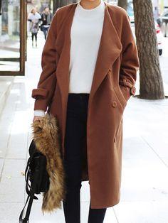 Brown Collarless Tied Waist Split Back Woolen Coat   abaday