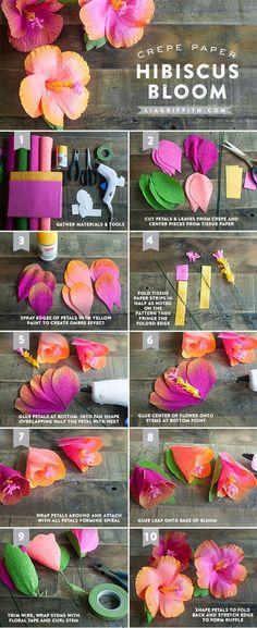 Flores de papel do hibiscus do Crepe de DIY