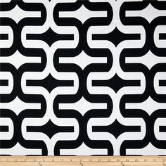Screen printed on cotton duck; this versatile medium weight fabric is perfect for window accents (draperies, valances, curtains and swags), toss pillows, bed skirts, duvet covers, slipcovers and more! Get creative with tote bags and aprons, too! Colors include ivory/white and black.
