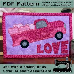 PDF Pattern for Truckful of LOVE Mug Rug, Truck Mug Rug Pattern, Valentine Mini Quilt Pattern - Sewing Pattern, Tutorial, DIY