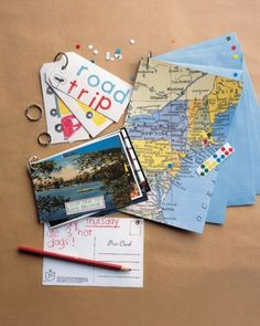 Ring-Bound Travel Books - made of maps, postcards, tickets, brochures - you could even glue coins onto cards.