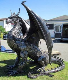 Steampunk Dragon made entirely of automobile parts