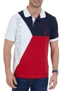 Nautica Men's Short Sleeve Heritage Block Polo Shirt - Nautical Red - M Mens Polo T Shirts, Boys T Shirts, Mens Sweatshirts, Polo Shirt Design, Polo Design, Camisa Polo, Polo Outfit, Polo Classic, Men Dress