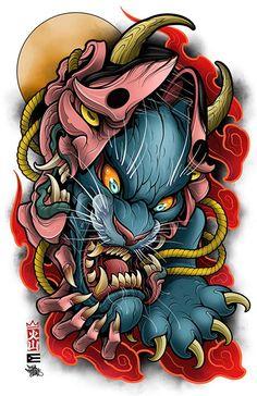 Oni Mask Tattoo, Hannya Tattoo, Japanese Tattoo Art, Japanese Tattoo Designs, Tattoo Sleeve Designs, Sleeve Tattoos, Neo Traditional Art, Cute Monsters Drawings, Japan Tattoo Design