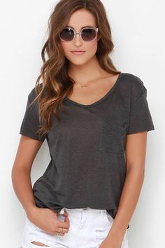 Never say never because anything is possible in the Now or Clever Dark Grey Tee! A scooping V neckline tops this linen, slub knit tee, with raw-hemmed short sleeves and patch pocket. A rounded hemline finishes the look below the casual-cool, straight-cut bodice. Unlined. 100% Linen. Dry Clean Only. Made With Love in the U.S.A.