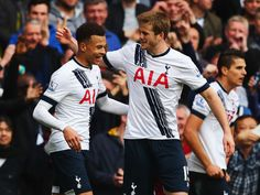 Dele Alli Eric Dier Photos Photos - Dele Alli of Tottenham Hotspur celebrates with Eric Dier as he scores their first goal during the Barclays Premier League match between Tottenham Hotspur and Manchester United at White Hart Lane on April 10, 2016 in London, England. - Tottenham Hotspur v Manchester United - Premier League