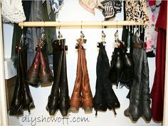 Pants Hangers - keep your boots nice and organized! http://www.ivillage.com/think-outside-shoe-box-9-genius-shoe-storage-solutions/7-a-551085