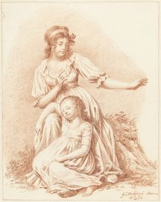 Zittende vrouw met een slapend meisje aan haar knieën, Gerardus Johannes Verburgh, 1802 Chemise dress. Dutch.