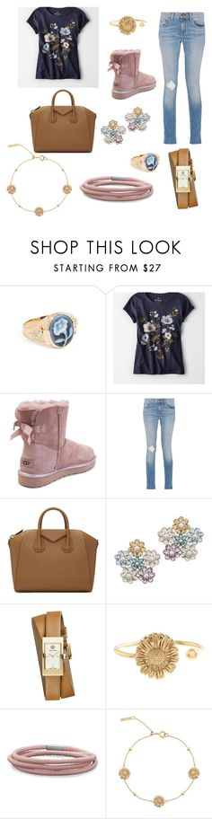 """""""Untitled #368"""" by ntourk ❤ liked on Polyvore featuring Jacquie Aiche, American Eagle Outfitters, UGG, rag & bone, Givenchy, MATINA AMANITA, Tory Burch, Olivia Burton and BillyTheTree"""