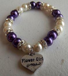 Bridesmaid Charm Bracelet with Rhinestone Spacers, Wedding Jewelry, Bridal Party, Bracelet, Stretch,Pearl Bracelet, Wedding