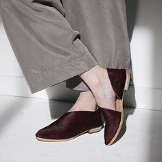 Our Holiday Shoes are here and this rich Bordeaux color has everyone at the studio flipping out. Each pair is hand cut and lasted by skilled shoemakers in highly limited quantities. Order by Friday, 12/18 for Christmas delivery!