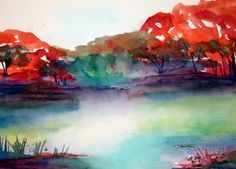 Mystic River  Fine Art Watercolor by lauratrevey on Etsy